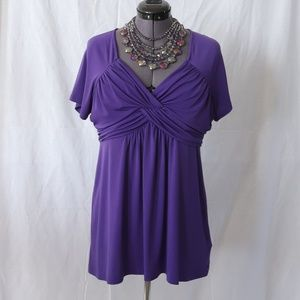 """Daisy Fuentes """"Iris"""" (Purple) Ruched Top"""